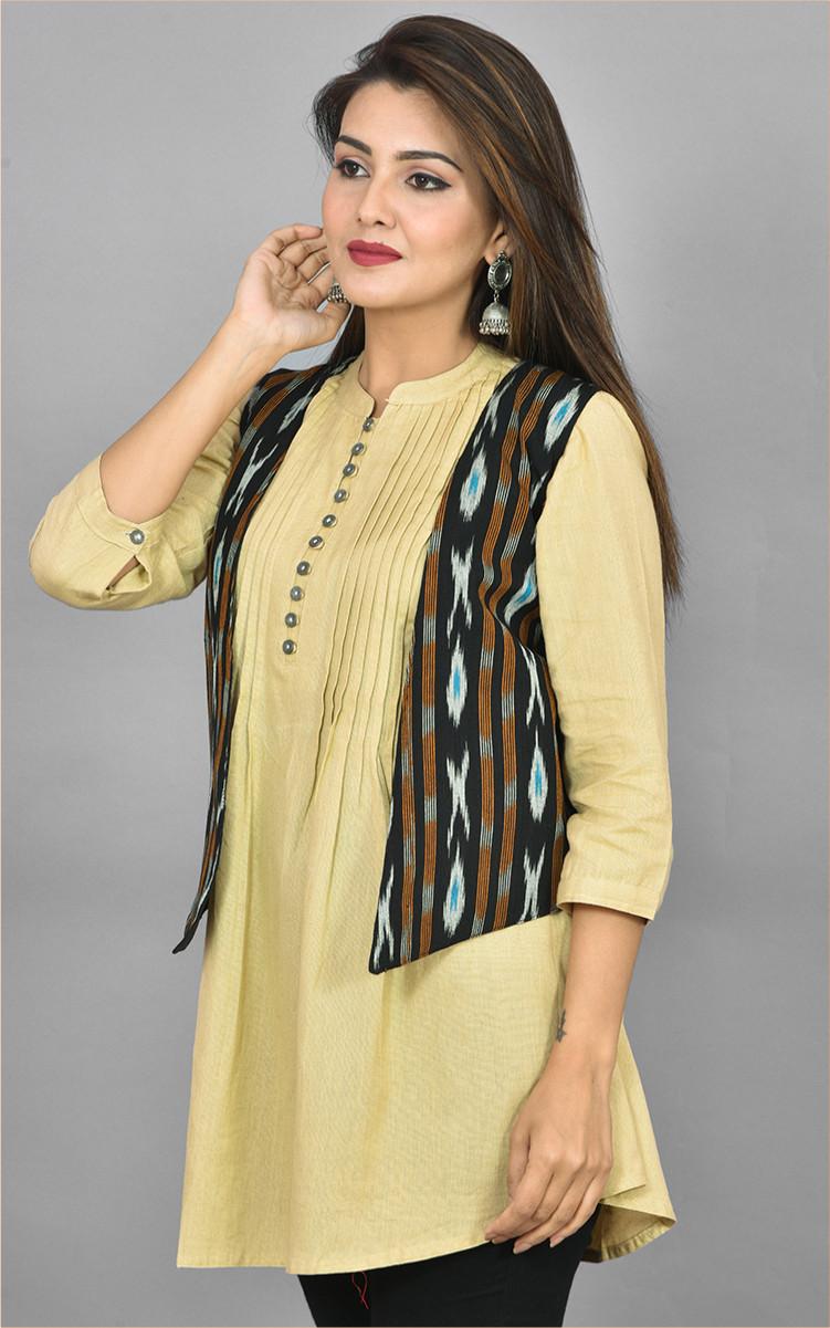 Black White and Cyan Ikat Cotton Koti Jacket-36276