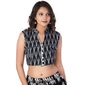 Black-White and Gray Cut Sleeve Cotton Ikat Blouse-30212