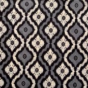Black-White and Gray Indian Block Print Cotton Fabric-RL4331