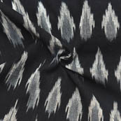 Black-White and Gray Unique Pattern Ikat Fabric-12015