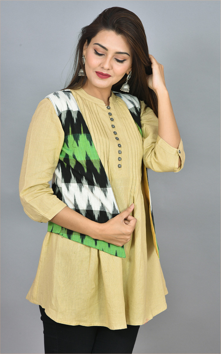 Black White and Green Ikat Cotton Koti Jacket-36275