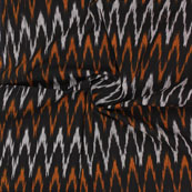 Black White and Orange Ikat Cotton Fabric-12314