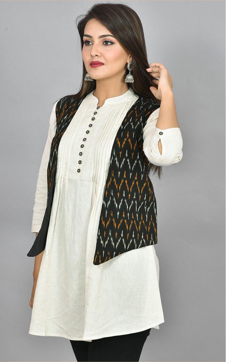 Black White and Orange Ikat Cotton Koti Jacket-36265