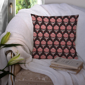 Black-White and Red Cotton Cushion Cover-35003