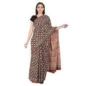 Black-White and Red Floral Design Cotton Block Print Saree-20103