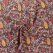 Black-White and Red Peacock Kalamkari Cotton Fabric-10170