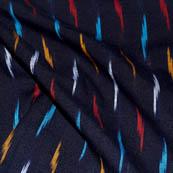 Black-White and Sky Blue Zig Zag Shape Ikat Fabric-5712