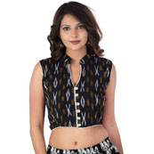 Black-White and Yellow Cut sleeve Cotton Ikat Blouse -30220
