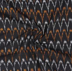 Black White and Yellow Ikat Cotton Fabric-11059