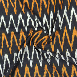 Black White and Yellow Ikat Cotton Fabric-11076