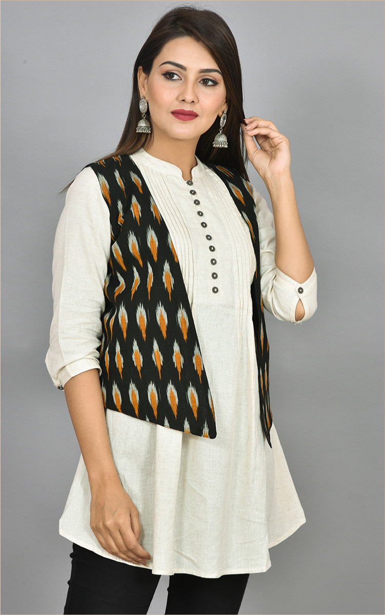 Black White and Yellow Ikat Cotton Koti Jacket-36270