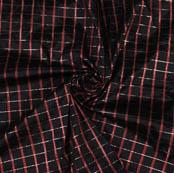 Black Wine Checks Taffeta Silk Fabric-9458
