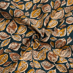 Black Yellow Floral Cotton Kalamkari Fabric-28046