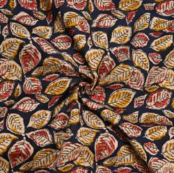 Black Yellow Floral Cotton Kalamkari Fabric-28052