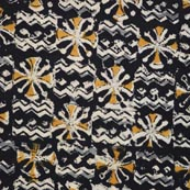 Black Yellow Gray and Beige Kalamkari Cotton Fabric by the Yard