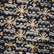 Black Yellow Gray and Beige Kalamkari Cotton Fabric by the Yard