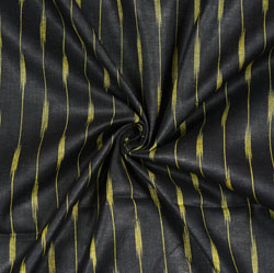 Black Yellow Ikat Cotton Fabric-11111