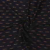 Black Yellow Ikat Cotton Fabric-12346