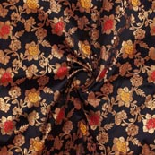 Black Yellow Red and Golden Floral Brocade Silk Fabric-9280