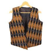 Black Yellow Sleeveless Ikat Cotton koti jacket-12301