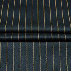 Black Yellow Stripe Wool Fabric-90194