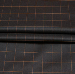 Black Yellow Checks Wool Fabric-90208