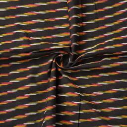Black-Yellow and Green Zig Zag Design Cotton Ikat Fabric-12073