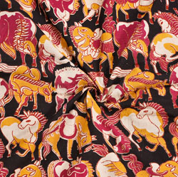 Black Yellow and Pink Animal Cotton Kalamkari Fabric-28042