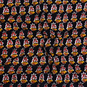 Black Yellow and Red Block Print Cotton Fabric-14604