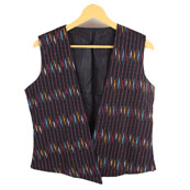 Black-Yellow and Red Sleeveless Ikat Cotton Koti Jacket-12233