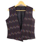 Black-Yellow and Red Sleeveless Ikat Cotton Koti Jacket-12233