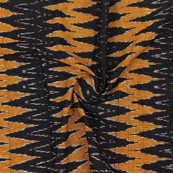 Black Yellow and White 3D Ikat Cotton Fabric-12328