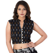 Black-Yellow and White Cut sleeve Cotton Ikat Blouse -30224