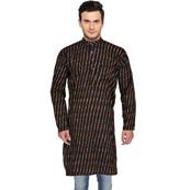 Black Yellow and White Ikat Cotton Khadi Long Kurta-33169