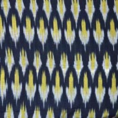 Black Yellow and White Ikat Fabric