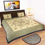 Black and Cream Check Border design printed Bedsheet with 2 Pillow Covers