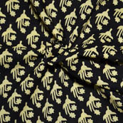 Black and Cream Unique Design Block Print Cotton Fabric-14073