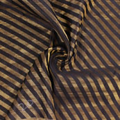 Black and Golden Brocade Silk Fabric-8876