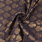 Black and Golden Brocade Silk Fabric-8880