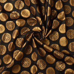 Black and Golden Circular Design Silk Brocade Fabric-8376