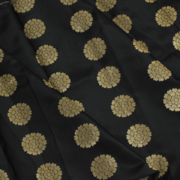 Black and Golden Floral Design Brocade Silk Fabric-8343