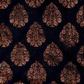 Black and Golden Floral Pattern Brocade Indian Fabric-4296