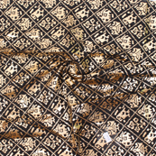 Black and Golden Floral Pattern Brocade Silk Fabric-8322