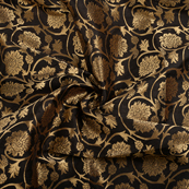 Black and Golden Flower Brocade Silk Fabric-8570