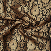Black and Golden Flower Design Pure Banarasi Silk Fabric-8467