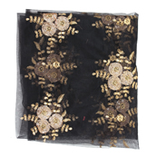 Black and Golden Flower Embroidery Net Fabric-60886