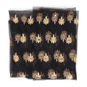Black and Golden Flower Embroidery Net Fabric-60892
