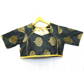 Black and Golden Tree Silk Brocade Blouse-30098