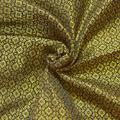 Black and Golden Unique Pattern Brocade Silk Fabric-8031