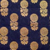 Black and Golden Zari Floral Brocade Silk Fabric by the yard